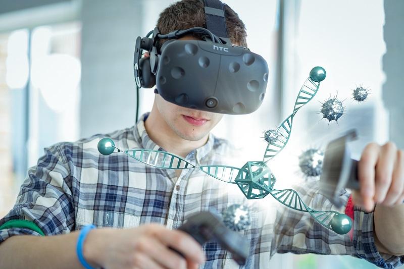 Wearing an HTC Vive virtual reality headset VR