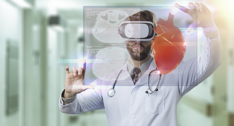 Doctor using virtual reality