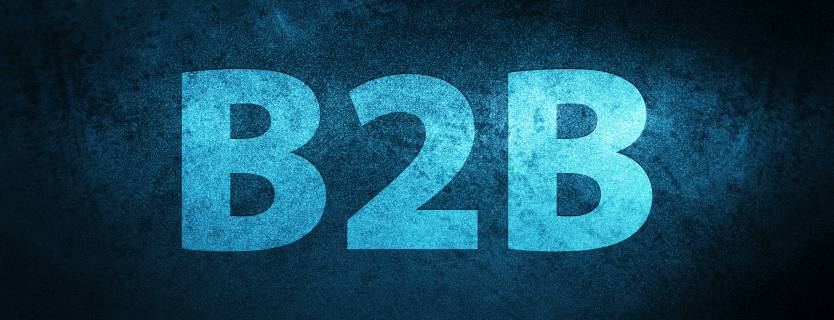 blue logo that says B2B