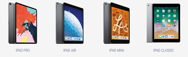 Available iPad models for rent