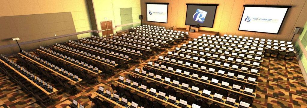 Auditorium full of laptop rentals