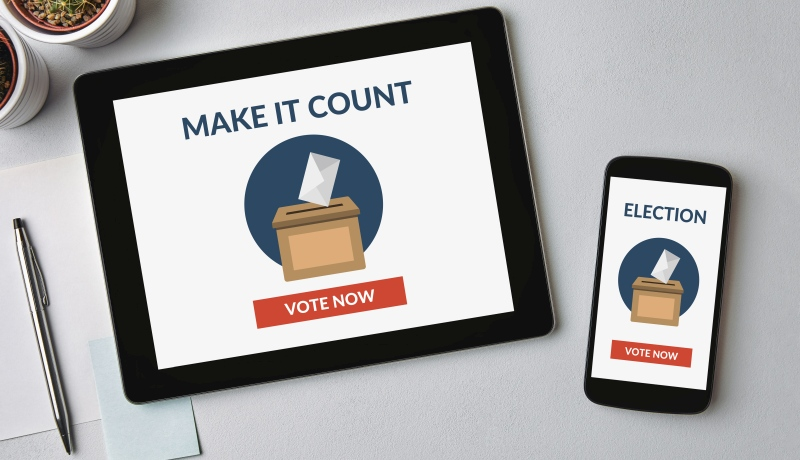 Online voting concept on tablet and smartphone screen